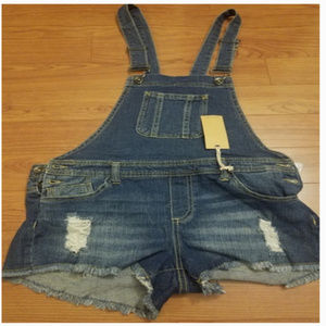 Empyre Distressed Blue Jean Denim Overall Shorts 9